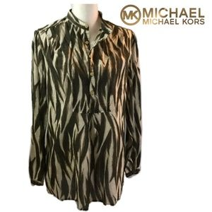 Micheal Kors Large Womens Button  Brown Tunic